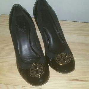 Tory Burch Patent Leather Black Wedge 9M